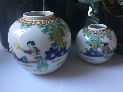 Pair of Pretty Antique Chinese Ginger Jars 11cm and 8cm (matching Vase sold sep)