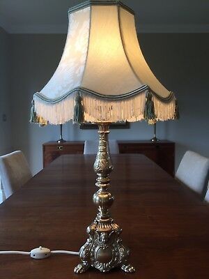 Vintage Solid Brass French Rococo Style Lamp with Downton Abbey Style Shade