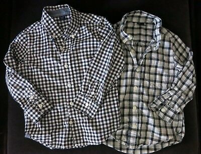Baby Gap Boys Button Up Long Sleeve Dress Shirt Lot Of 2 Size  4 Years Toddler