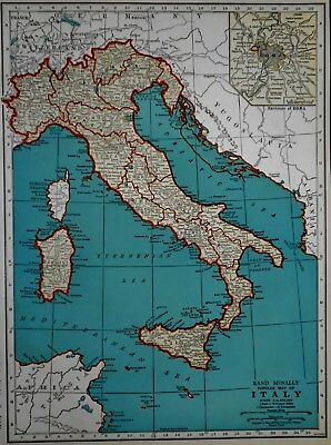 Vintage 1940 Atlas Map World War WWII Italy & Switzerland OLD Europe with Rome