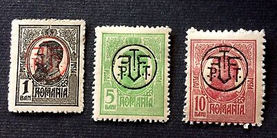 Romania 1918 - 3 old unused stamps King Karl I. - Michel No. 248-250