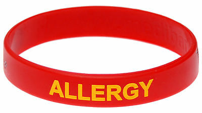 Allergy Alert Red Silicone Wristband Medical Alert ID Mediband Small