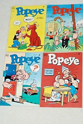 4 Popeye Comic books - from 1951 Dell