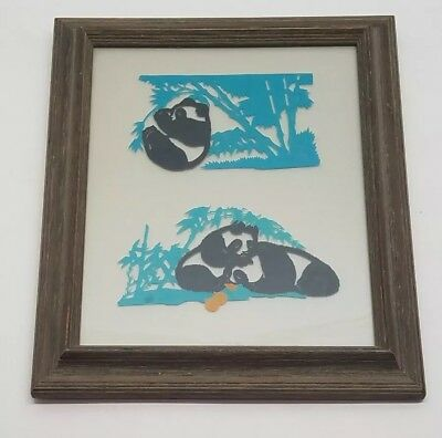 Vtg Asian Art Glass Hand Painted Panda Bamboo Forest Artwork Wall Decor Painting