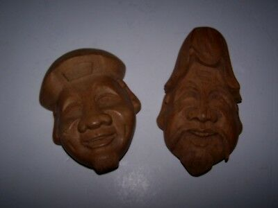 Vintage Pair Hand Carved Wood Smiling Face Masks Figure Asian Oriental