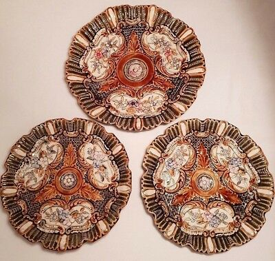 19thC European Majolica Set of 3 Green/Brown Plates Decorated with Floral Motifs