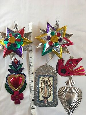 Vintage Mexican Folk Art Punched Tin Metal Ornaments Lot Of 6 Mixed Stars Heart