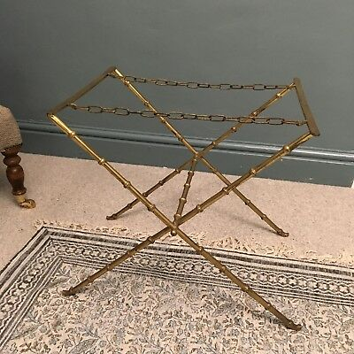 Vintage Brass Folding Butlers Tray/ Table/ Suitcase Stand - Faux Bamboo