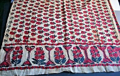 Antique Asian hand embroidered Sindh shawl fabric silk on cotton