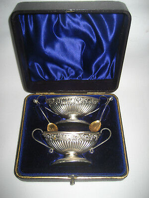 A Cased Hallmarked Solid Silver 4 Piece Condiment Set by W H Leather, B/ham 1911