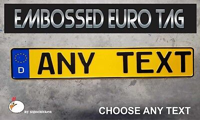 BMW German Germany Euro European License Plate Embossed - ANY TEXT, YELLOW -BLUE