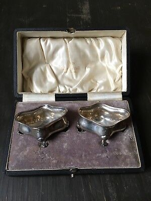 Pair Of Antique Solid Sterling Silver Open Top Salts Walker & Hall 1918 - boxed