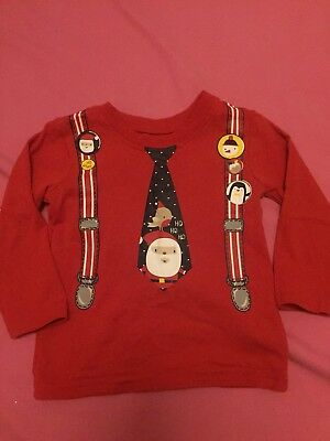 Baby Boys Long Sleeve Red Christmas Too T-shirt Size Age 9-12 Months