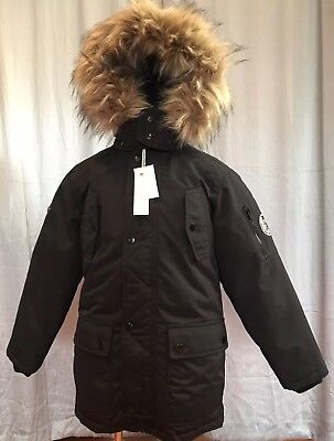 a2b7a8791 NWT DIESEL BOYS Black Removable Faux Fur Hooded Parka JACKET Youth ...