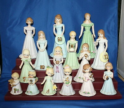Set Of 15 Growing Up Porcelain Birthday Girls By Enesco