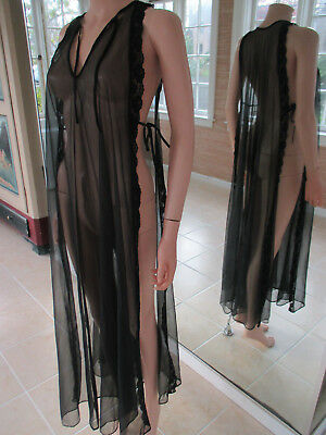 VINTAGE SHEER NYLON BLACK lace trim OVERLAY GOWN One Size 1960s made in CALi