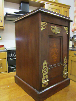 Old Victorian Antique Walnut Cabinet Pendonium with Brass Marquetry c1880
