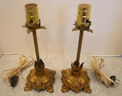 Pair Vintage Ornate Candlestick Lamps Vanity Nightstand Buffet Cast Iron