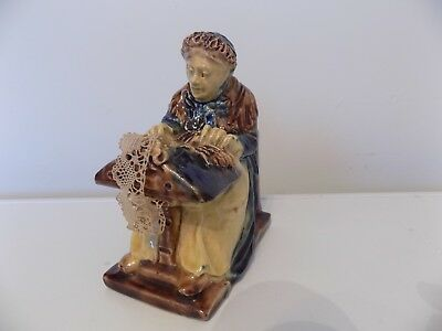 """Early 1900 Achille Vande Voorde """" Flemish Lacemaker """" Pottery Figurine."""