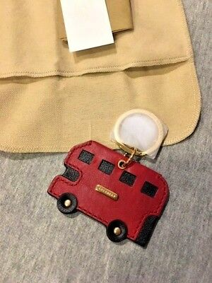 Burberry Red Leather London Bus Key Ring *new