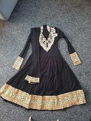 Indian anarkali womans dress and trousers suit black & gold 38 s