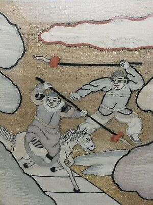 impressive 19th antique  Old Chinese hand made embroidery panel