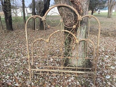 "Antique Vintage Fancy Full Size Iron Bed 54"" Wide X 62"" Tall"