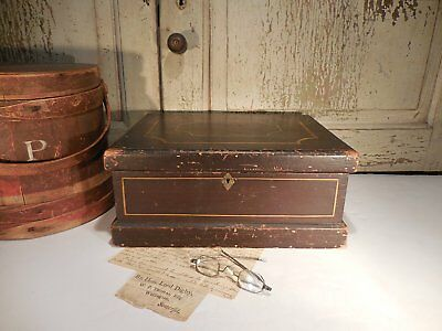 AAFA Painted Pine Box Miniature Chest Antique Document Box Star Inlay