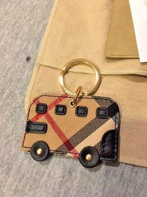 Burberry Leather Horseferry Check Bus Key Ring *new