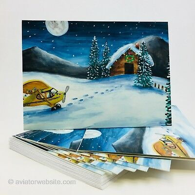 "General Aviation Christmas Cards - ""Yellow Airplane"" - 10 Pack"