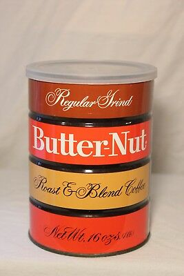 Vintage Butternut Coffee Can Tin 1 Lb Empty