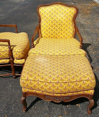 Highland House Hickory NC USA Louis XV French Provincial Armchair & Ottoman