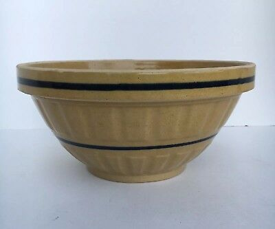 """Antique 10 1/8"""" Yellow Ware Mixing Bowl"""