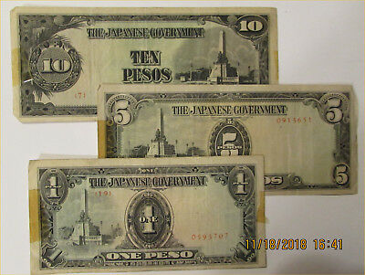 Japanese WWII paper money Pesos - circulated