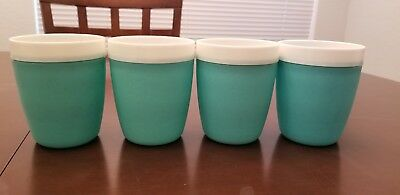 """Lot of 4 Vintage  Bolero Therm-o Ware Plastic Turquoise & White 4 1/4"""" Cups!"""
