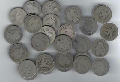 Roll Of (40) Silver Barber Quarters Mixed Dates, Mints & Condition