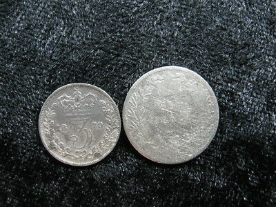 2 old world SILVER coin lot GREAT BRITAIN 3 & 6 pence 1873 1879 Queen Victoria