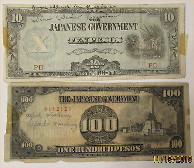 Japanese WWII paper money with peoples names on them, front & back - circulated