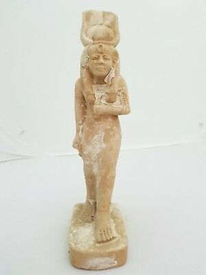 ANCIENT EGYPTIAN ANTIQUES STATUE Goddess Hathor Old Kingdom Hand Carved Stone BC