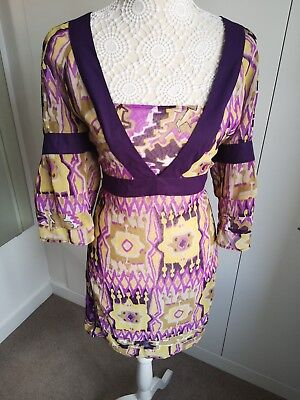Principles Size 16 Loose Fit Tunic Top Purple Pink Mustard