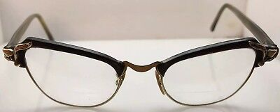 NICE! Vintage Retro Shuron Cat Eye 5-1/2 Clear & Gray USA 46[]22 6101