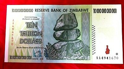 Zimbabwe 10 Trillion Dollars Unc Bank Note 10T Real Banknote 2008 Aa Seriessale
