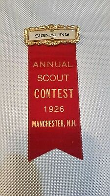 1926 Annual Scout Contest Signaling Metal Pin with Ribbon
