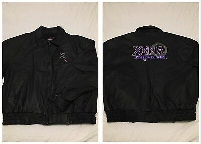 MINT Vtg 90s Official Xena Warrior Princess Leather Motorcycle Jacket Mens XL