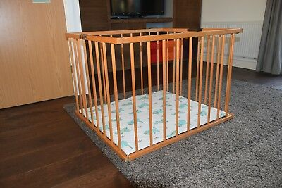 4 Side Baby Child Wooden Foldable Playpen 90(L)x80(W)x65(H)cm