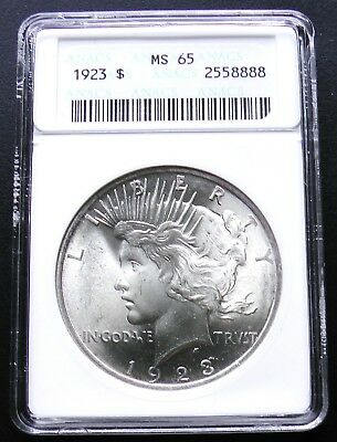 1923-P Silver Peace Dollar ANACS (old small slab) MS65 Graded