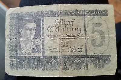 1945 Funf Schilling Austrian National Bank Currency