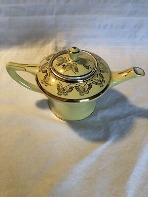Vintage Hall Pottery Teapot Canary Yellow Gold Butterflies 0159 6 Cup