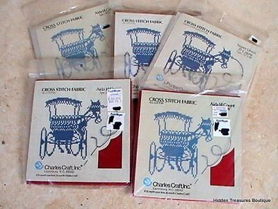 Charles Craft Lot of 5 Cross Stitch Fabric 14 & 27 Ct Red Beige Brown Linen
