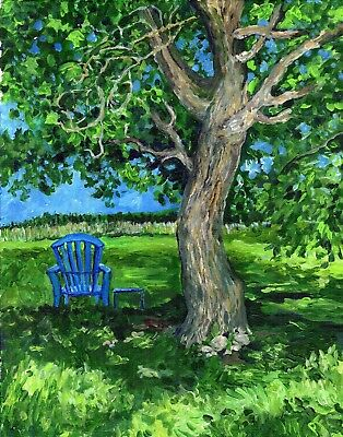 """ORIGINAL ART Acrylic Painting Landscape 11x14 Canvas Tree """"In The Shade"""" green"""